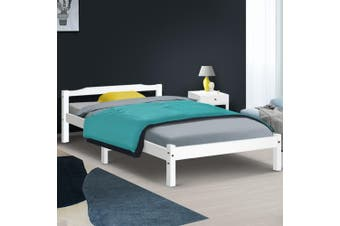 Artiss KING SINGLE Size LEXI Wooden Bed Frame White Mattress Base Platform Timber Pine Wood  Bedroom