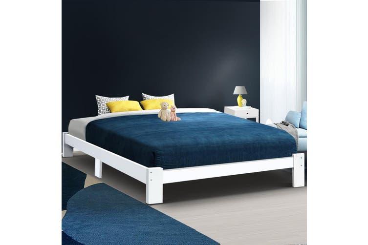 Artiss KING Size Bed Frame Timber Pine Wood White Mattress Base Platform Bedroom Drawers