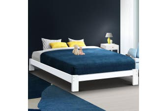 Artiss QUEEN Size JADE Wooden Bed Frame White Mattress Base Platform Foundation Timber Pine Wood Bedroom
