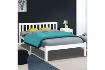 Artiss DOUBLE SOFIE Wooden Bed Frame White Full Size Mattress Base Platform Timber Pine Wood  Bedroom