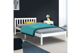 Artiss KING SINGLE Size SOFIE Wooden Bed Frame White Mattress Base Platform Timber Pine Wood  Bedroom