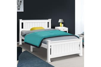 Artiss KING SINGLE Size Wooden Bed Frame White Mattress Base Platform Timber Pine Wood  Bedroom