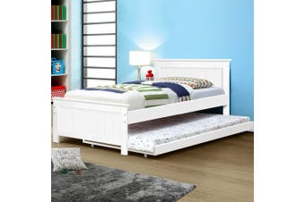 Artiss KING SINGLE Size Pull Out Trundle Bed Frame Timber Pine Wood White Mattress Base Platform Bedroom Drawers