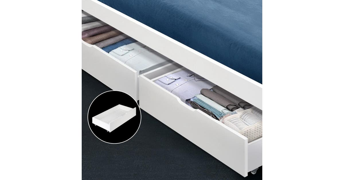 Artiss 2x White Trundle Drawers Under