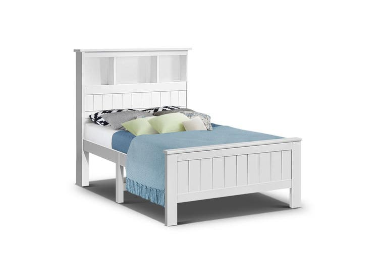 Artiss KING SINGLE Size Wooden Bookshelf Bed Frame White Mattress Base Platform Timber Pine Wood Bedroom Kids