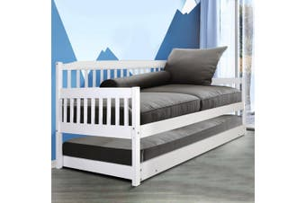 Artiss SINGLE Size Wooden Sofa Bed Frame White Daybed Mattress Base Platform Timber Pine Wood  Bedroom Kids Adults