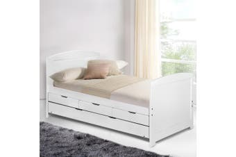 Artiss SINGLE Size Duncan Wooden Bed Frame Trundle Drawers White Mattress Base Platform Timber Pine Wood  Bedroom