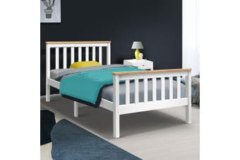 Artiss KING SINGLE Size PONY Wooden Bed Frame White Mattress Base Platform Timber Pine Wood  Bedroom