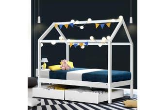 Artiss Wooden Bed Frame Single Size Mattress Base Pine Timber Platform White BALI