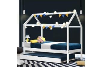 Artiss Wooden Bed Frame Single Size Mattress Base Pine Timber Platform White HOLY