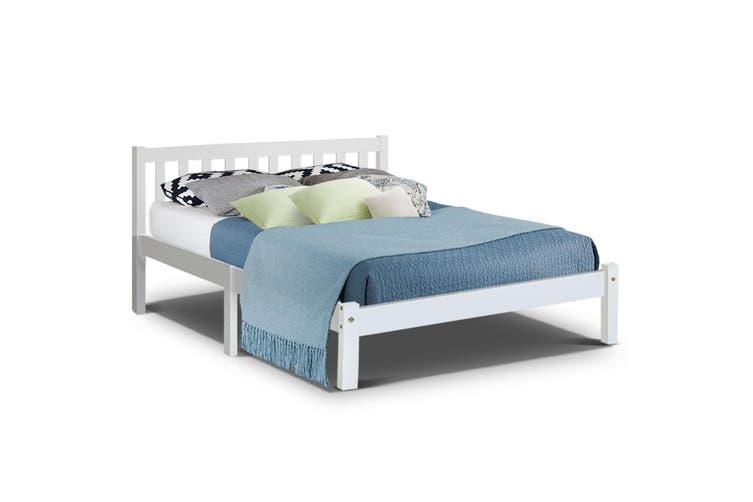 Artiss QUEEN SOFIE Wooden Bed Frame White Full Size Mattress Base Platform Timber Pine Wood  Bedroom