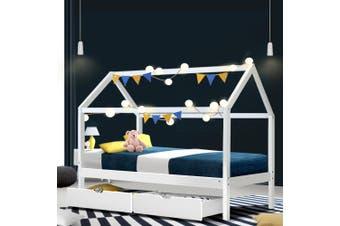Artiss Wooden Bed Frame Single Size Mattress Base Timber Platform Storage Drawers Pine Wood White