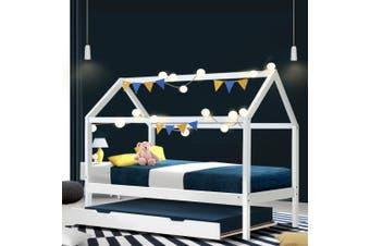 Artiss Wooden Bed Frame Single Size Trundle Mattress Base Timber Platform Pine Wood White