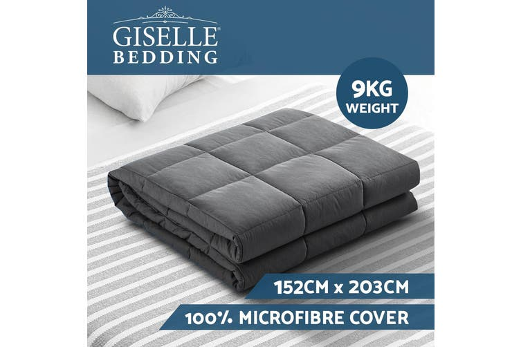 Giselle Bedding 9kg 100% Microfibre Weighted Blanket Gravity Relax Sleep for Adult Deep Touch Pressure Simulation GREY