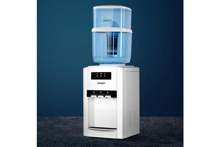 Devanti 22L Bench Top Water Cooler Dispenser Filter Purifier Hot Cold Taps Container Bottle Stand