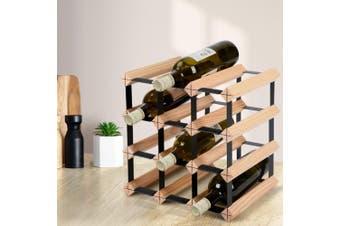 Artiss 12  Timber Bottle Wine Rack Storage Bottles Wooden Premium Modern Free Standing Display Shelf