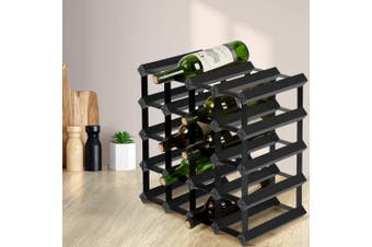 Artiss 20 Bottle Timber Wine Rack Wooden Storage Wall Racks Holders Cellar Black