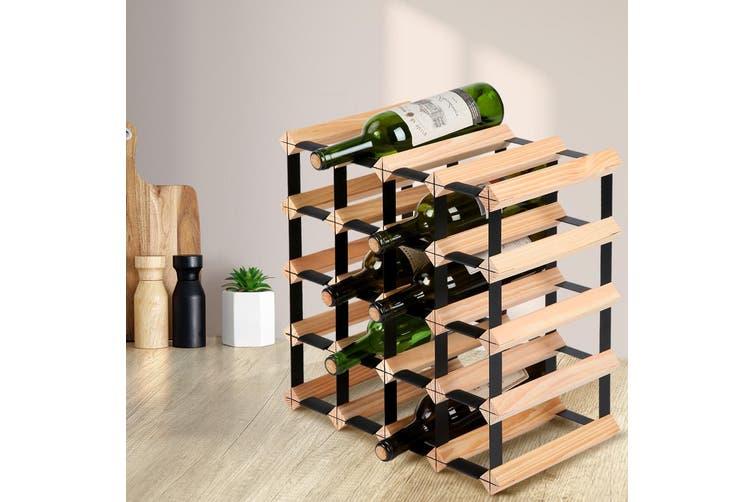 Artiss 20 Bottle Timber Wine Rack Wooden Wall Racks Holders Cellar Black Display Shelf Free Standing