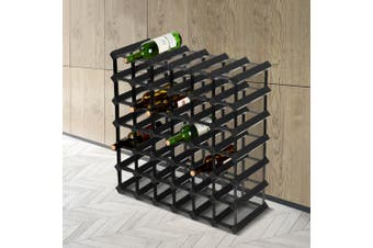 Artiss 42 Bottle Timber Wine Rack Wooden Wall Racks Holders Cellar Black Display Shelf Free Standing Black