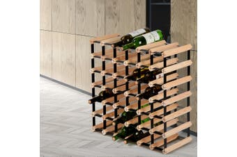 Artiss 42 Bottle Timber Wine Rack Wooden Wall Racks Holders Cellar Black Display Shelf Free Standing