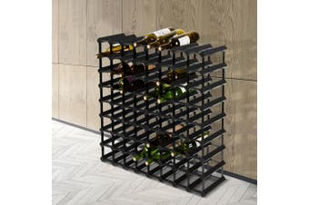 Artiss 72 Bottle Timber Wine Rack Wooden Wall Racks Holders Cellar Black Display Shelf Free Standing Black