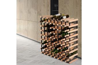 Artiss 72 Bottle Timber Wine Rack Wooden Wall Racks Holders Cellar Black Display Shelf Free Standing