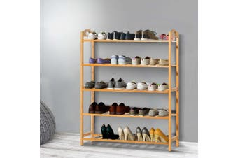 Artiss 5-Tier Bamboo Shoe Rack Organiser Storage Cabinet Shelf Stand Shelves