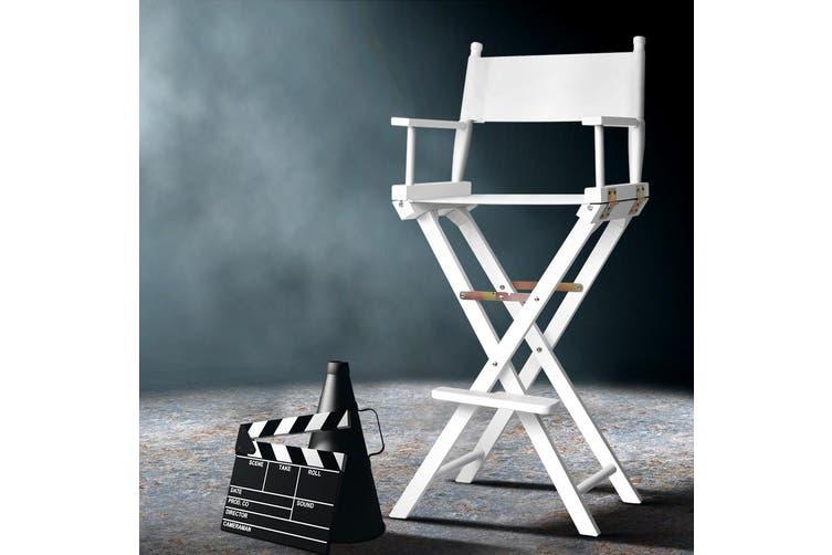 Artiss Professional Tall Director Chair Makeup Artist Movie Chairs Folding White