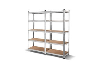 Giantz 2 Piece 0.9M Metal Steel Warehouse Shelving 5 Tier Racking SILVER  Heavy Duty Garage Storage Shelves Racks