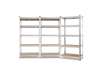 Giantz 3 Piece 0.9M Metal Steel Warehouse Shelving 5 Tier Racking SILVER  Heavy Duty Garage Storage Shelves Racks
