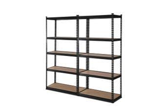 Giantz 2 Piece 0.7M Metal Steel Warehouse Shelving 5 Tier Racking BLACK  Heavy Duty Garage Storage Shelves Racks