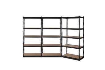 Giantz 3 Piece 0.7M Metal Steel Warehouse Shelving 5 Tier Racking BLACK  Heavy Duty Garage Storage Shelves Racks