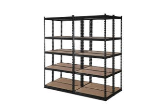 Giantz 4 Piece 0.7M Metal Steel Warehouse Shelving 5 Tier Racking BLACK  Heavy Duty Garage Storage Shelves Racks