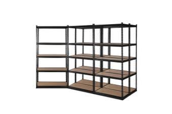 Giantz 5 Piece 0.7M Metal Steel Warehouse Shelving 5 Tier Racking BLACK  Heavy Duty Garage Storage Shelves Racks