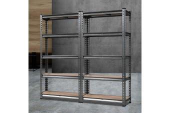 Giantz 2 Piece 0.7M Metal Steel Warehouse Shelving 5 Tier Racking GREY Heavy Duty Garage Storage Shelves Racks