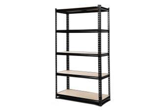 Giantz 0.9M Metal Steel Warehouse Shelving 5 Tier Racking BLACK  Heavy Duty Garage Storage Shelves Racks