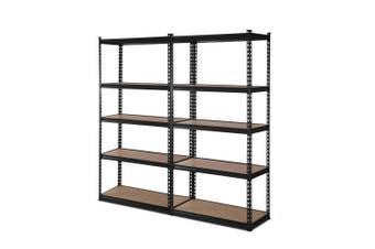 Giantz 2 Piece 0.9M Metal Steel Warehouse Shelving 5 Tier Racking BLACK Heavy Duty Garage Storage Shelves Racks
