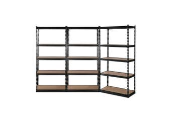 Giantz 3 Piece 0.9M Metal Steel Warehouse Shelving 5 Tier Racking BLACK Heavy Duty Garage Storage Shelves Racks