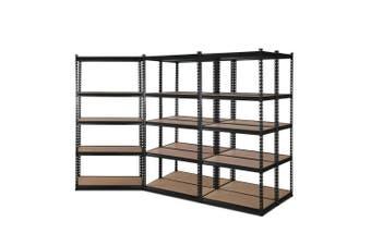 Giantz 5 Piece 0.9M Metal Steel Warehouse Shelving 5 Tier Racking BLACK Heavy Duty Garage Storage Shelves Racks