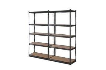 Giantz 2 Piece 0.9M Metal Steel Warehouse Shelving 5 Tier Racking GREY Heavy Duty Garage Storage Shelves Racks