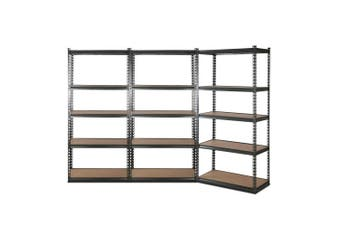 Giantz 3 Piece 0.9M Metal Steel Warehouse Shelving 5 Tier Racking GREY Heavy Duty Garage Storage Shelves Racks