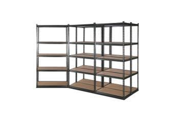 Giantz 5 Piece 0.9M Metal Steel Warehouse Shelving 5 Tier Racking GREY Heavy Duty Garage Storage Shelves Racks