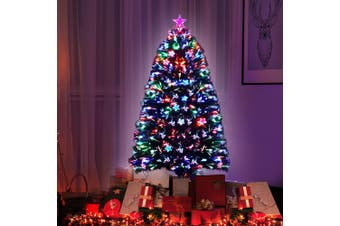 Jingle Jollys  Christmas Tree Xmas Fibre Optic LED Green MULTI COLOUR 1.2m 4Ft