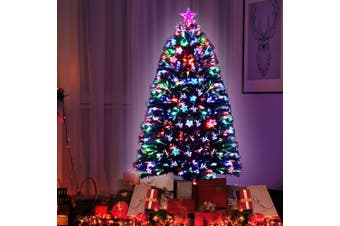 Jingle Jollys  Christmas Tree Xmas Fibre Optic LED Green MULTI COLOUR 1.5m 5Ft