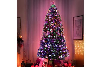 Jingle Jollys  Christmas Tree Xmas Fibre Optic LED Green MULTI COLOUR 1.8m 6Ft