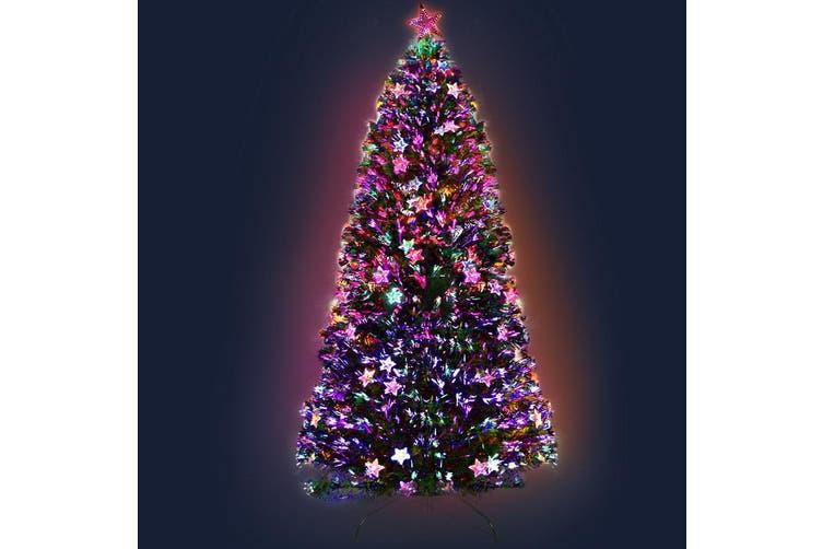 Jingle Jollys  Christmas Tree Xmas Fibre Optic LED Green MULTI COLOUR 1.8m 6Ft