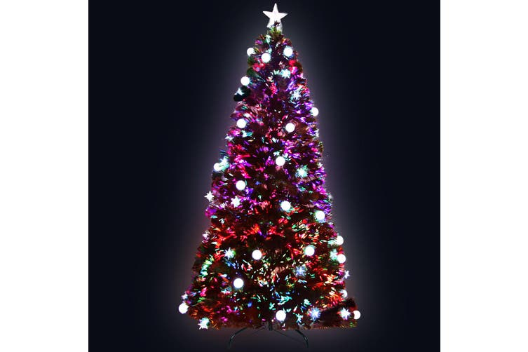 Jingle Jollys Christmas Tree Xmas Fibre Optic LED Green Multi Colour 2.1m 7FT