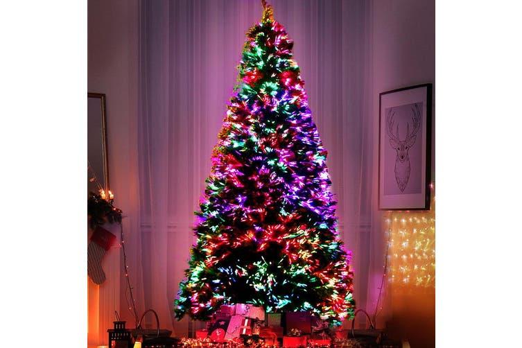 Jingle Jollys 2.4M 8FT LED Christmas Tree Xmas Multi Colour Lights Fibre Optic