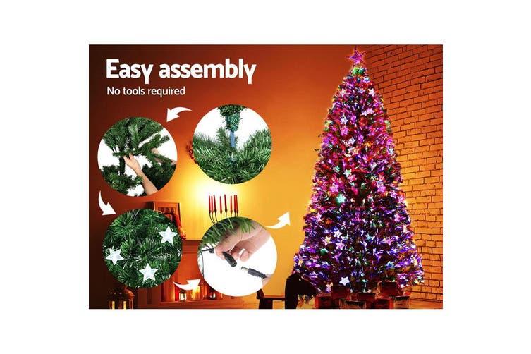 Jingle Jollys 2.4M 8FT LED Christmas Tree Xmas Fibre Optic Multi Colour Lights