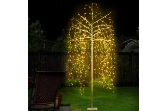Jingle Jollys 2.1M LED Christmas Tree Willow Xmas Fibre Optic Warm White Lights